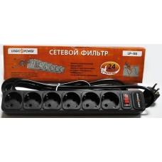 LogicPower LP-X6, 6 розеток, черный, 1,8м